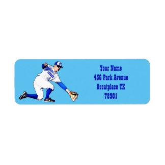 Jugador de béisbol con su vuelta del nombre o del etiquetas de remite