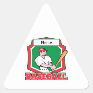 Jugador de béisbol de encargo pegatina triangular