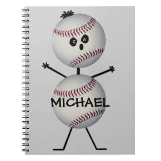 Jugador de béisbol de encargo spiral notebook