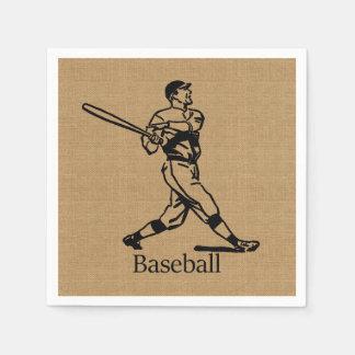 Jugador de béisbol del vintage en mirada de la servilleta de papel