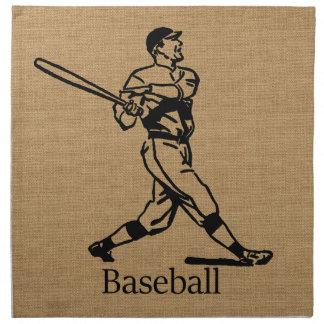 Jugador de béisbol del vintage en mirada de la servilletas imprimidas