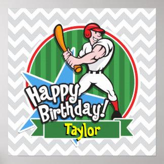 Jugador de béisbol en Chevron gris claro y blanco Impresiones