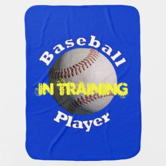 Jugador de béisbol en el entrenamiento manta de bebé