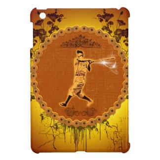 Jugador de béisbol en un botón redondo