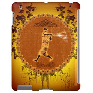 Jugador de béisbol en un botón redondo funda para iPad