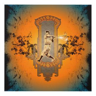 Jugador de béisbol en un escudo con las flores cuadro