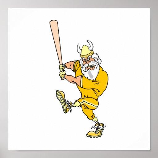 Jugador de béisbol enojado de Viking Impresiones