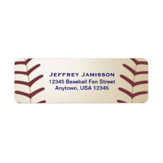 Jugador de béisbol, etiqueta del nombre y etiquetas de remite