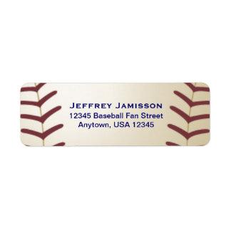 Jugador de béisbol, etiqueta del nombre y etiqueta de remite