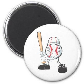 Jugador de béisbol feliz imán redondo 5 cm