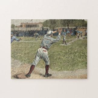 Jugador de béisbol lanzado hacia fuera en la puzzle