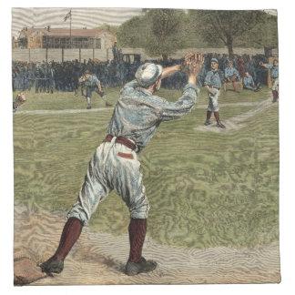 Jugador de béisbol lanzado hacia fuera en la servilleta imprimida