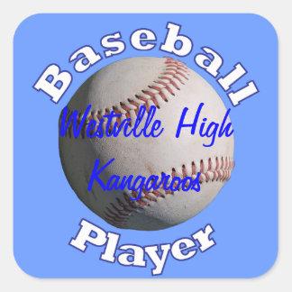 Jugador de béisbol pegatina cuadrada