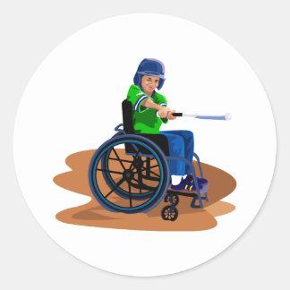 Jugador de béisbol etiquetas redondas