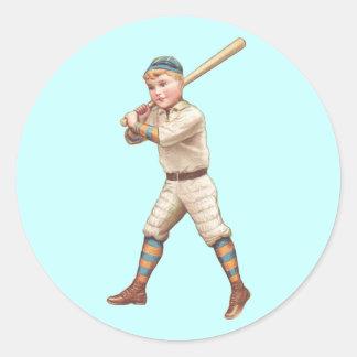 Jugador de béisbol pegatina redonda