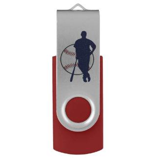 Jugador de béisbol personalizado pen drive giratorio USB 2.0