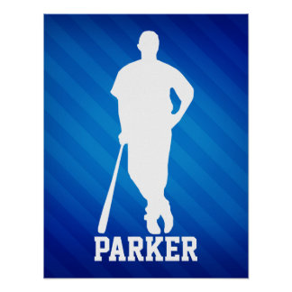 Jugador de béisbol; Rayas azules reales Póster