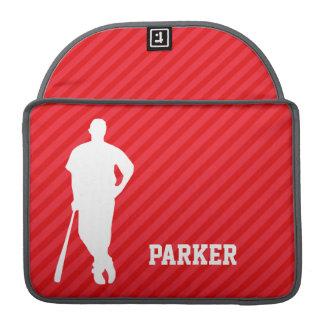 Jugador de béisbol; Rayas del rojo del escarlata Funda Macbook Pro