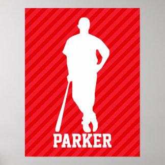 Jugador de béisbol; Rayas del rojo del escarlata Póster