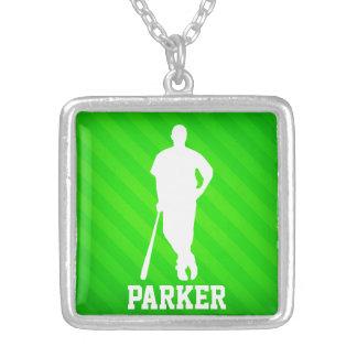 Jugador de béisbol; Rayas verdes de neón Colgante Cuadrado