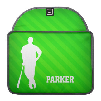 Jugador de béisbol; Rayas verdes de neón Fundas Para Macbook Pro