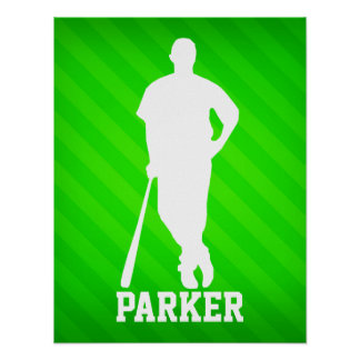 Jugador de béisbol; Rayas verdes de neón Póster