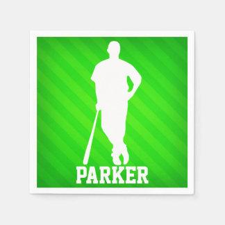 Jugador de béisbol; Rayas verdes de neón Servilletas Desechables