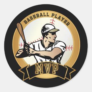 Jugador de béisbol retro pegatina redonda