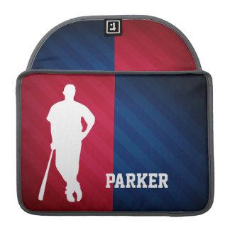 Jugador de béisbol; Rojo, blanco, y azul Fundas Para Macbook Pro