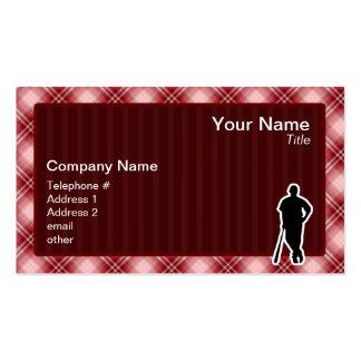 Jugador de béisbol rojo de la tela escocesa tarjetas de visita