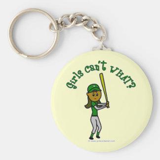 Jugador de béisbol verde oscuro llaveros personalizados