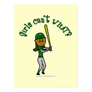 Jugador de béisbol verde oscuro postales
