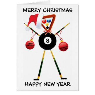 Jugador de billares de las Felices Navidad Tarjeta De Felicitación