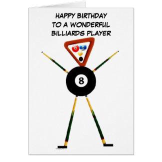 Jugador de billares del feliz cumpleaños tarjeta de felicitación