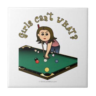 Jugador de billares femenino ligero azulejo cuadrado pequeño
