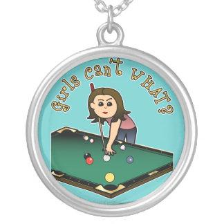 Jugador de billares femenino ligero grímpola