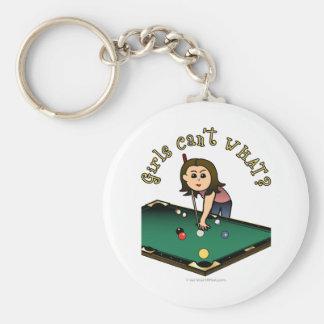 Jugador de billares femenino ligero llavero redondo tipo pin