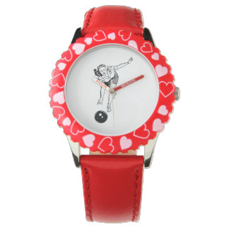 Jugador de bolos de la mujer del vintage relojes de pulsera