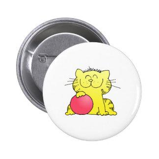 Jugador de bolos divertido del gatito pin redondo de 2 pulgadas