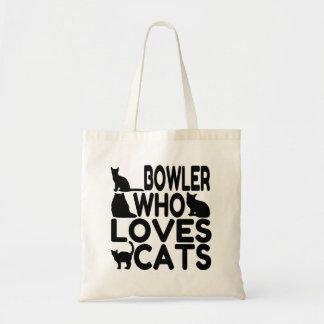 Jugador de bolos que ama gatos bolsas