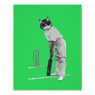 Jugador de criquet del gato del vintage impresiones