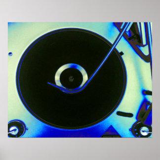 Jugador de disco de vinilo retro del vintage póster