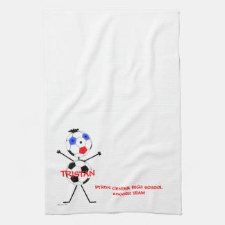 Jugador de equipo de fútbol toallas de cocina