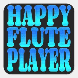 Jugador de flauta feliz pegatinas cuadradases personalizadas