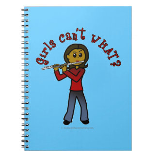 Jugador de flauta femenino oscuro spiral notebooks