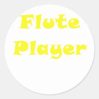 Jugador de flauta pegatina redonda