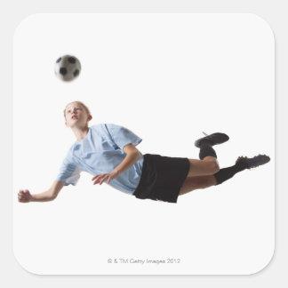 Jugador de fútbol 3 pegatina cuadrada