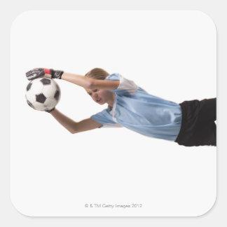 Jugador de fútbol 4 pegatina cuadrada