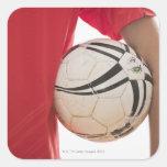Jugador de fútbol 5 pegatina cuadrada
