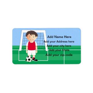 Jugador de fútbol adaptable etiquetas de dirección
